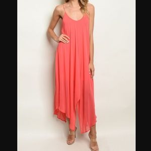 ECHO Sleeveless Scoop Neck Flowy Coral Maxi Dress